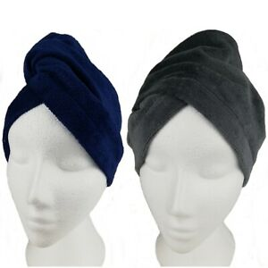100% Cotton Hair Turban Towel Drying Turbie Loop & Button Bath twist Hair Wrap