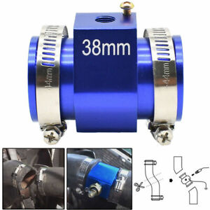 Universal 38mm Water Temp Temperature Radiator Hose Joint Pipe Adapter Blue