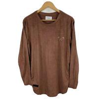 Saint Morta Womens Tunic Top Size Medium Velvet Brown Long Sleeve Round Neck