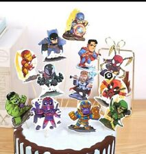 12pcs Justice League cake topper batman spiderman cupcake toppers avengers thor