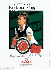 PUBLICITE ADVERTISING 125  1998  Omega  montres speedmaster avec Martina Hingis