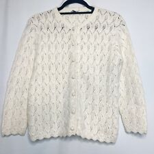 vintage cardigan sweater off white ivory open knit 1960s