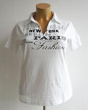 NEU Übergröße schickes Damen Kurzarm Polo Shirt weiß Motiv mit Glitzers Gr.44/46