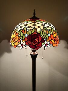 Enjoy Brand Tiffany Floor Lamp Rose Flower Stained Glass  Antique Vintage H64""