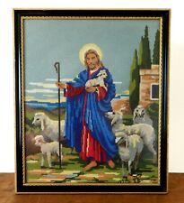 Vintage Religious Embroidery Tapestry Jesus Christ & Lambs Framed Mid Century