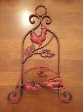 Chicken Red Wrought Iron Vertical Plate Holder Wall Hanger Display Rack