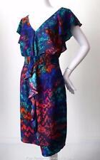 DIANA FERRARI rrp $229.95 Size 10 US 6 Ruffled Multi Coloured Shift Dress