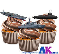 PRECUT Royal Navy Ship Mix 12 Edible Cupcake Toppers Cake Decorations Birthday
