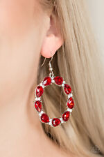 Paparazzi jewelry red teardrop gems white rhinestones hoop earrings nwt