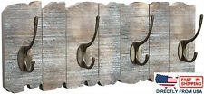 Wall-Mounted Hook Rack, Rustic Style Coat Rack with 4 Double Hooks Rustic White