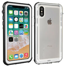 For Apple iPhone Xs X Clear Back Waterproof Case Shockproof w/ Screen Protector
