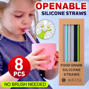 Openable Silicone Straws Reusable Bent Food-grade Drinking Party Kids Straw