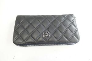 Authentic CHANEL Matrasse Quilted Leather Zip around Long Wallet #9392
