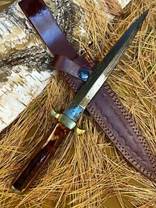 LOUIS MARTIN RARE CUSTOM HANDMADE DAMASCUS HUNTING BOOT DAGGER KNIFE HARD WOOD