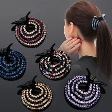 Fashion Women Hair Clips Crystal Pearl Floral Hairpin Ponytail Hair Bun Headwear