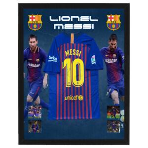 LIONEL MESSI BARCELONA FC HAND SIGNED FRAMED SOCCER JERSEY SUAREZ COUTINHO VIDAL