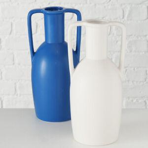 2x Modern Blue White Flower Bud Bottle Vase Set Roman Clay Style Jug Urn Planter