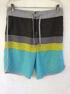 Mossimo Boardshorts 32, Gray, Black, Yellow, Blue Striped