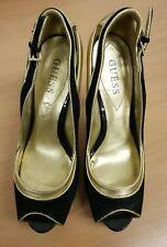 GUESS designer gold black stilettos UK 5.5  EU 38.5 platform peep toe leather