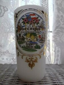 LIBBEY Milk Glass GEORGIA The Empire State Of The South SOUVENIR DRINKING GLASS