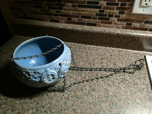 Vintage McCOY Blue Basket Weave HANGING PLANTER With CHAIN PPottery Roseville
