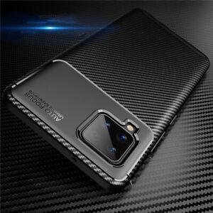 Silikon Hülle für Samsung Galaxy A42 5G, Handy Cover Schutz Tasche Carbon Case