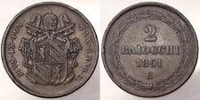 2 BAIOCCHI 1851 BOLOGNA ANNO I PIO PIUS IX STATO PONTIFICIO PAPAL STATE #4549
