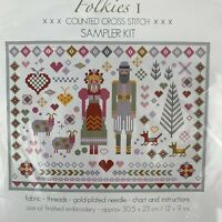 Folkies I Counted Cross Stitch Kit Sampler Kit Riverdrift House 14 Count Aida