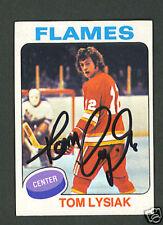 Tom Lysiak Flames signed 1975-76 Topps hockey card