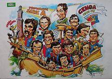 1975-76 GENOA poster mai spillato Gino Pallotti caricatura Guerin Sportivo