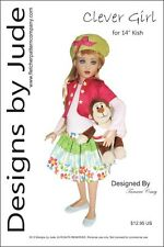 """Clever Girl Doll Clothes Sewing Pattern for 14"""" Kish Dolls"""