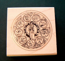 P15  Zodiac circle rubber stamp WM 2x2""