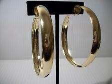 """2.25"""" gold thick rim hoops clip on earrings non pierced"""