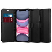 iPhone 11 Case, Spigen Wallet S Leather Wallet Card Holder Cover - Black