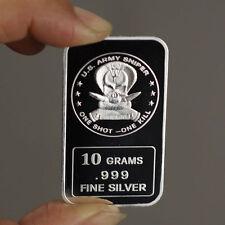 "10 grams .999 Fine Silver Bar, ""US Army Sniper One Shot One Kill"" design, NEW!"