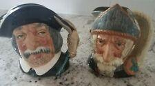"New ListingTwo Royal Doulton Small 4"" Toby Character Jugs-Don Quixote & Sancho Panca, Mint!"