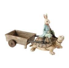 Rabbit Riding Turtle Spring Garden Bunny Figurine Decor 3710219 NEW RAZ Imports