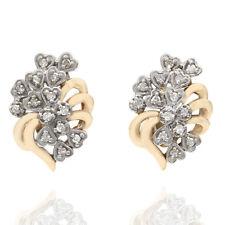 Diamond Heart Cluster Earrings in 10K Yellow & White Gold