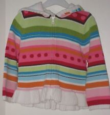 GYMBOREE Size 3T Multi-Color Striped Front Zipper Long Sleeve Hooded Sweater