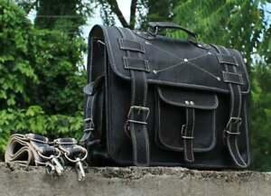 Handmade Vintage Black Leather Laptop Messenger Backpack Bag Satchel Briefcase