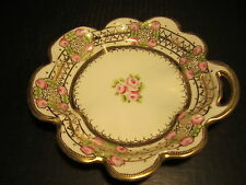 Fancy Nippon-Noritake Pink Flowers With Lots Of Gold Decorated Bowl With Handle