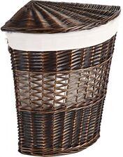 Wicker Lidded Wedge Hamper, Brown Laundry Basket Storage Bin Organizer Lid Woven