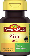 Zinc 30mg, 100 comprimidos, Nature Made