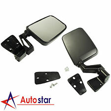 Black Manual Side View Door Mirrors Left Right Pair Set For Jeep Wrangler 87-02