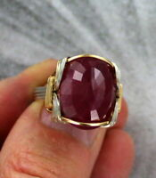 Natural Red Ruby Gemstone  Ring  Sterling Silver 14kt Rolled Gold  Sizes 5 to 15