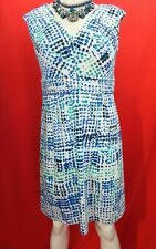 CALVIN KLEIN  v neck sleeveless cotto blue, white spotted dress US 12 , UK 14-16