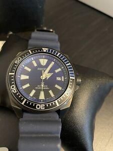 Seiko Srpd09k1 Save The Ocean Samurai Black Pvd Case Stunning Blue Dial