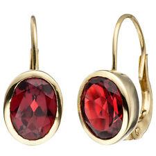 Damen Boutons 333 Gold Gelbgold 2 Granate rot Ohrringe Ohrhänger Granatohrringe.