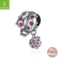 925 Sterling Silver Red Crystals Ladybug beads charm fit women Luxury Bracelet