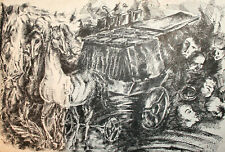 1993 Surrealist fantasy ink painting horses figures portrait signed
